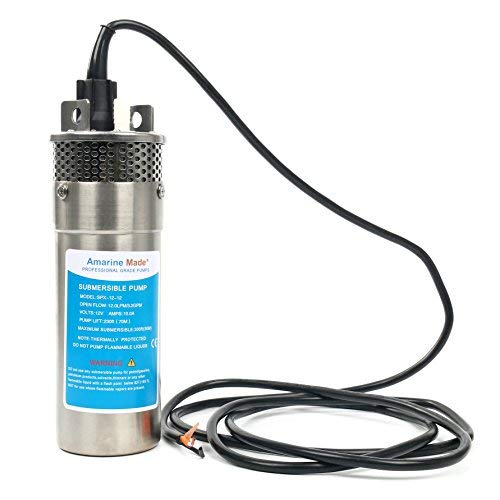 Amarine Made 12V Stainless Shell Submersible 3.2GPM 10A Deep Well Water DC Pump/Alternative Energy Solar Battery