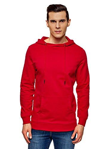 oodji Ultra Hombre Sudadera Básica con Bolsillo, Rojo, ES 52-54 / L