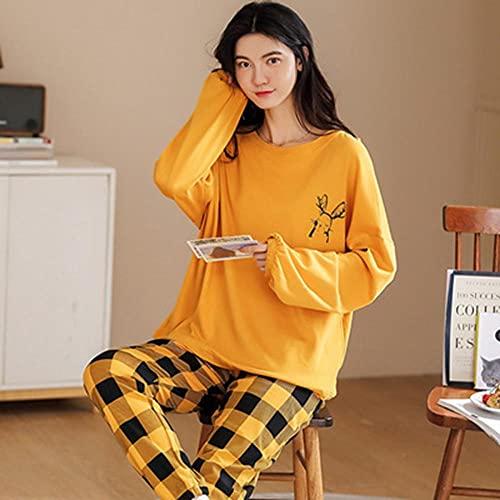 AOQW Otoño Invierno Pijamas Set Mujeres Pijamas Homewear Long Sleeve Sleepwear Home Clothes Night Suit Female-5_M