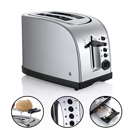 WMF Stelio Toaster Edelstahl, Doppelschlitz-Toaster mit Brötchenaufsatz, 980 W, 7 Bräunungsstufen, Bagel-Funktion, Überhitzungsschutz, edelstahl matt