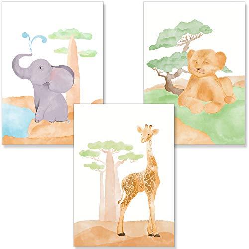 PREMYO Cuadros Infantiles para Habitación Niña Niños - Láminas Decorativas para Enmarcar - 3 Póster Animales DIN A4