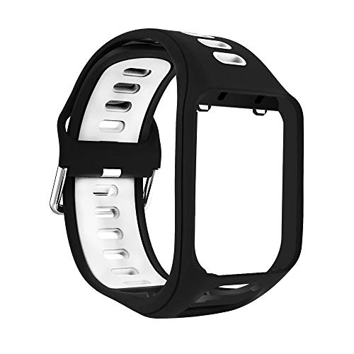 Yivibe Silicone Band Watch Strap Wristband Smart Watch Bracelet Replacement for Tomtom Spark Runner 2 3 Adventurer Golfer 2 Accessories ( Color : Black White )