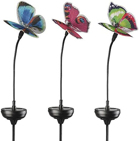 Solar Garden Lights Outdoor 3 Pack Solar Stake Lights Multi Color Changing LED Fiber Optic Butterfly product image