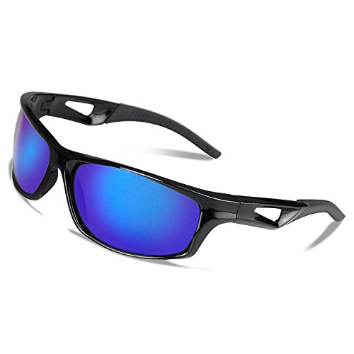 V VILISUN Polarisierte Sport Sonnenbrille Fahrradbrille Sportbrille mit UV400 TR90 (Blau)
