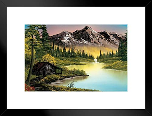 ProFrames Poster Gießerei Bob Ross Mountain Retreat Kunstdruck, Gemälde Framed Matted in Black Wood 20x26 inch Mehrfarbig / 2142
