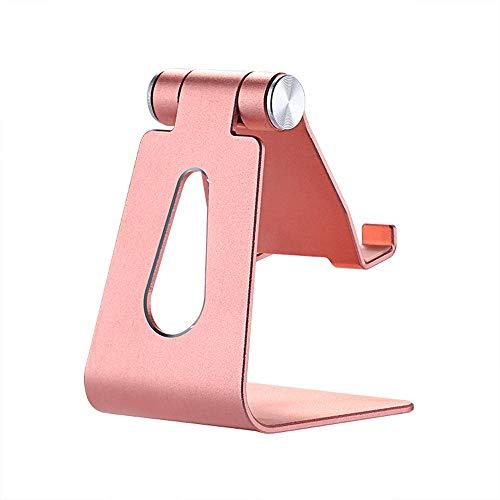 AODOOR Soporte para teléfono, Soporte ajustable para teléfono móvil, Soporte de muelle de aluminio, Soporte de escritorio de viaje universal, Se adapta a todos los teléfonos inteligentes (rosa)