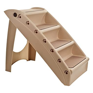 PETMAKER Folding Plastic Pet Stairs Durable Indoor or Outdoor 4 Step Design With Built-in Safety Features For Dogs Cats Home Travel by – TAN