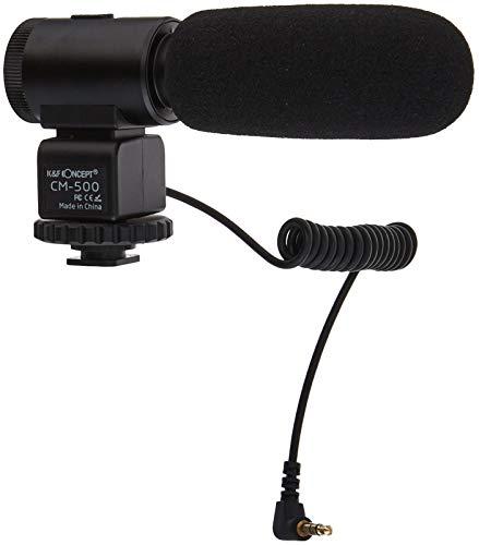 K&F Concept CM-500 Kamera Mikrofon Richtrohrmikrofon Mikrophon für Camcorder Canon Nikon mit 3,5mm-Klinke