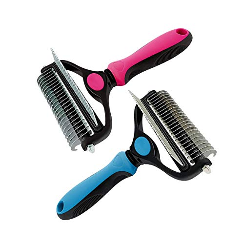 Dog Brush and Cat Brush - 2 in 1 Pet Grooming Tool for Deshedding Comb and Undercoat Rake, Safe Dematting Comb for Easy Mats & Tangles Removing, Best Pet Grooming Brush for Long Hair Medium Large Pet