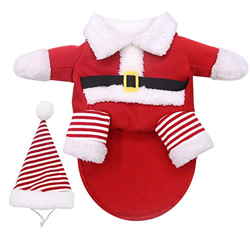 Idepet Dog Christmas Costume, Dog Costume for Small Medium Large Dogs Funny Costumes Dog Suit with Cap Santa Claus Suit Dog Christmas Clothes Hoodie Coat for Pet Dog