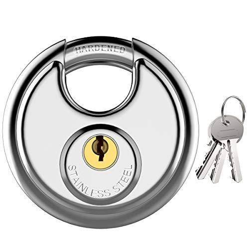 Puroma Stainless Steel Discus Keyed Padlock Waterproof and Rustproof Storage Lock with 3 Keys and 5/16 Inch Stainless Steel Shackle for Storage Facilities, Tool Box, Gate, Fence, Garage, and Outdoors