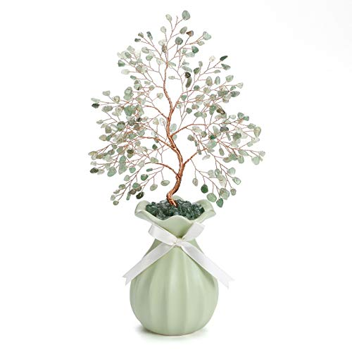 Jovivi Natural Green Aventurine Crystal Money Tree Healing Chakra Gemstone Bonsai Crystal Tree Ornament Feng Shui Decoration w/Ceramic Vase Base