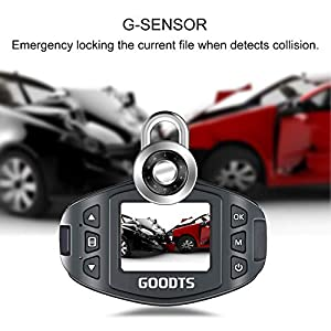 Dash Cam GOODTS Full HD 1080P Mini Car Camera Driving Recorder 1.5 inch Screen 170°Wide Angle, Dashboard Camera with G-Sensor Loop Recording WDR Motion Detection Night Vision (16GB Card Included)
