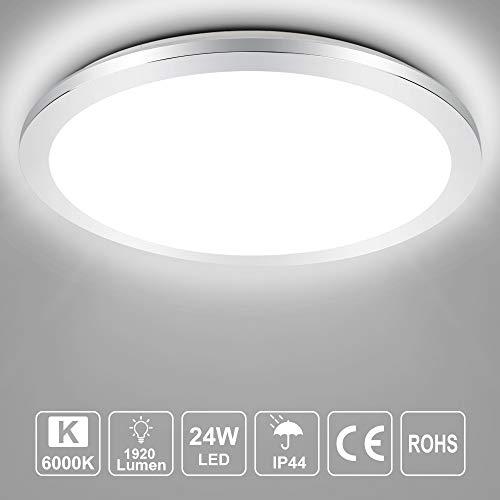 PADMA Deckenleuchte Badezimmer Kaltweiss Wasserdicht IP44 Led Deckenlampe Küche Modern 24W 6500K 40cm für Wohnzimmer Flur Büro