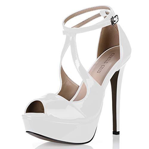 CHMILE CHAU-Zapatos para Mujer-Sandalias de Tacon Alto de Aguja-Sexy-Elegantes-Novia o Dama-Boda-Nupcial-Vestido de...