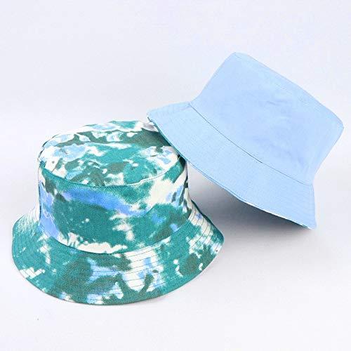 Gorra de Doble Cara con Visera, Sombrero de Cubo de Color arcoris, Sombrero de Sol Plano de algodn para Hombres y Mujeres, Sombrero de Pescador Reversible para el Sol-1PC C