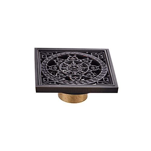MOODSC Copper Bodenablauf European Black Antike Kupfer Deodorant Kern Bad Balkon Fußboden Acht Herz Drain und acht Pfeile Schwarz Antike Boden 10 × 10 cm Ablauf
