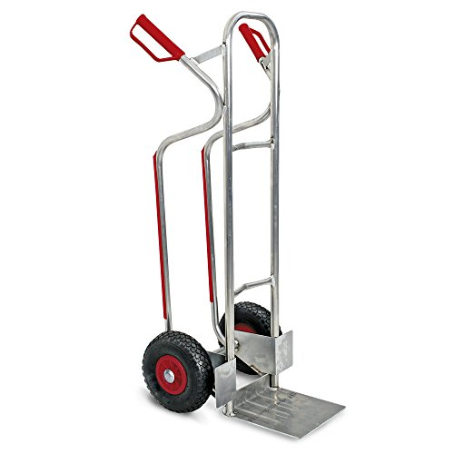 Stapelkarre/Sackkarre aus Aluminium blank, mit pannensicheren Reifen, BxTxH 520x550x1200 mm, Tragkraft 200 kg, Gewicht 6,5 kg