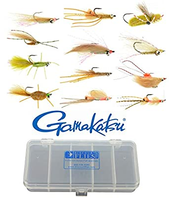 Discountflies Bonefish & Permit Flats Fly Collection 12 Flies + Fly Box