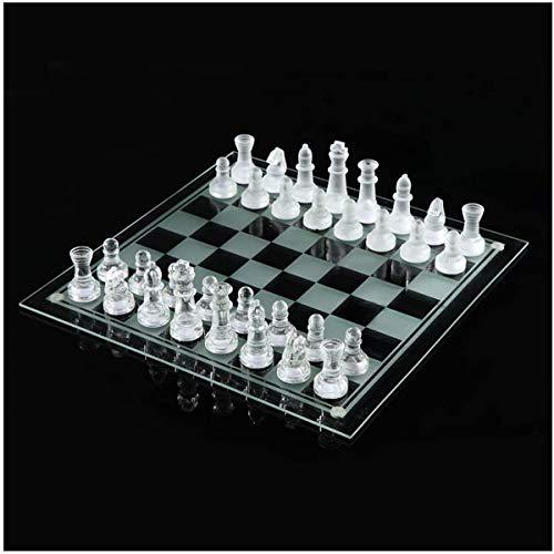Siunwdiy Juego de ajedrez de Cristal Esmerilado Pulido...