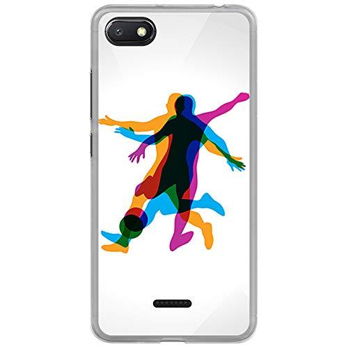 BJJ SHOP Funda Transparente para [ Xiaomi Redmi 6A ], Carcasa de Silicona Flexible TPU, diseño: Jugador de Futbol en Movimiento 3D