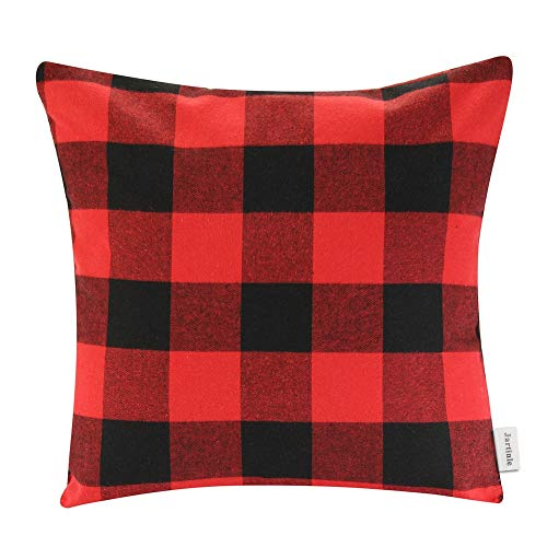 Jartinle 2 Pack Soft Cotton Christmas Red Black Buffalo Plaids Throw Pillow Covers 18x18 Inches Rustic Farmhouse Holiday Decorative Cushion Cover Pillow Case Sofa Bed Cozy Home Decor (1 pc)