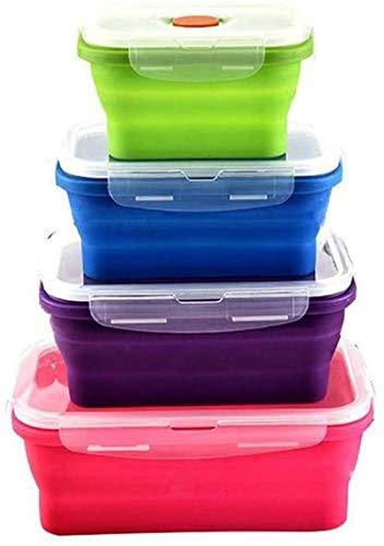 Fiambrera de silicona,plegable, plegable, contenedor de almacenamiento de alimentos con tapas sin BPA,cocina, microondas, congelador y lavavajillas, fiambreras para niños (4 unidades)