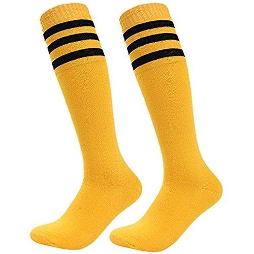 Dosige Streifen Kniestrümpfe Sport Strümpfe Overknee Sportsocken Lang Baseball Fußball Rugby Cheerleader Socks für Männer Frauen Damen Mädchen Gelb
