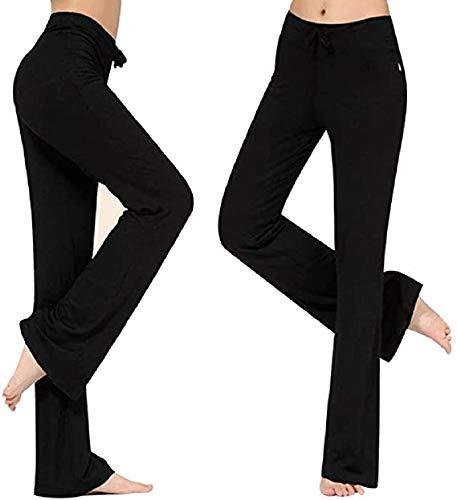 Voqeen Pantalones de Yoga Bootcut Mujer Modal Pantalones Deportivos Alta Cintura Elásticos Leggins Anticeluliticos Control de Barriga Cordón Pantalones de Trabajo (Negro, XL)