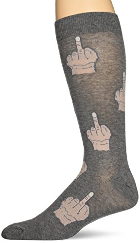 K. Bell Men's Classics Novelty Crew Socks, Middle Finger (Charcoal), Shoe Size: 6-12