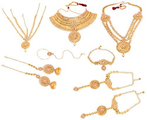 Indian piedras de cristal chapado en oro de estilo Bollywood indio conjunto de collar pendientes de novia joyas