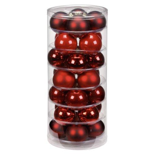 Inge-glas 15007D003 Kugel 60 mm, 28 Stück/Dose, Ruby-Red-Mix(rot,bordeaux,ochsenblut)