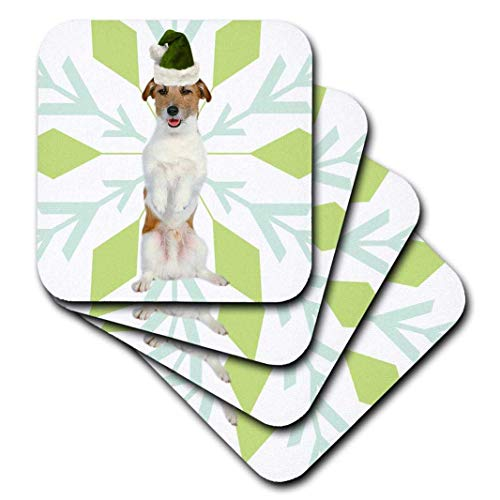 Set of 8 Coasters for Drinks Absorbent Drink Coaster Jack Russell Terrier Jtr Dog Green Santa Hat With Christmas Snowflakes Furniture Protection Decor for Home Kitchen Bar Housewarming Gifts 8 Piece