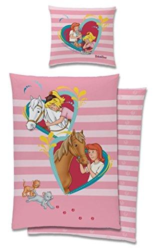 Tex idea Bibi und Tina Wende Bettwäsche-Set mit Pferd und Herzen 135 x 200 80 x 80cm, 100% Baumwolle in Linon Qualität Blumen Pferde rosa