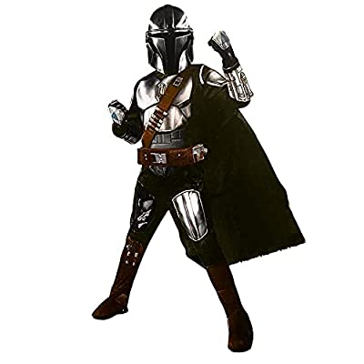 Star Wars Mandalorian Youth Halloween Costume Kids Dress Up Cosplay (Mandalorian with Boot Toppers, Small) by