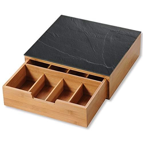 Kesper 58951 - Scatola con cassetto per capsule di caffè, in bambù