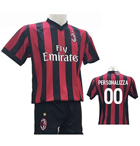 Completo Calcio Maglia Milan Personalizzabile + Pantaloncino Replica Autorizzata 2017-2018 Bambino (Taglie 2 4 6 8 10 12) Adulto (S M L XL) (XL)