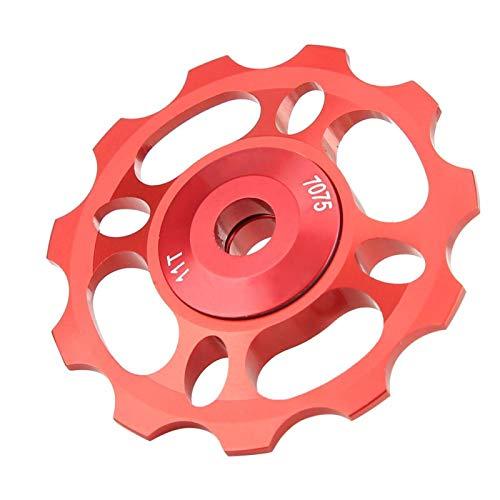 Kadimendium Robusta Rueda de guía de cojinete de cerámica de aleación de Aluminio CNC Rueda Trasera Polea de Cambio de Alta Durabilidad para Bicicleta de montaña para Montar en senderos(Red, 11T)