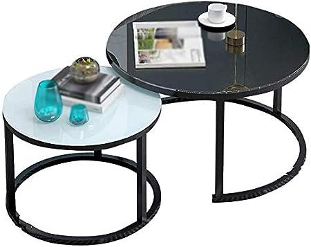 Homranger Tavolino Da Caffe In Vetro Set Di Due Tavolini Da Salotto Combinati Tavolino Da Caffe In Ferro Stabile Colore B Amazon It Casa E Cucina