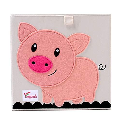 N / A Cube Cartoon Animal Jouet Boîte de Rangement Pliant Bacs De Rangement Armoire tiroir Organisateur vêtements Panier de Rangement Enfants Jouets Organisateur 33x33x33 CM