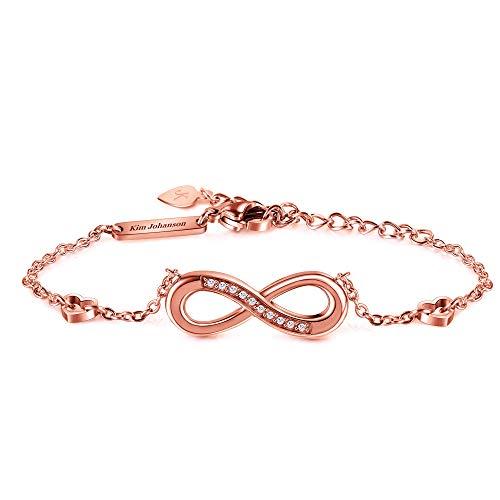 Kim Johanson Edelstahl Damen Fußkettchen *Infinity* in Silber, Gold & Roségold | Fußkette mit einem Unendlichkeit Zeichen | Boho Schmuck | Verstellbar inkl. Schmuckbeutel (Roségold)