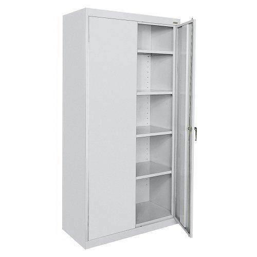 "Sandusky Lee CA41361872-05, Welded Steel Classic Storage Cabinet, 4 Adjustable Shelves, Locking Swing-Out Doors, 72"" Height x 36"" Width x 18"" Depth, Dove Gray"