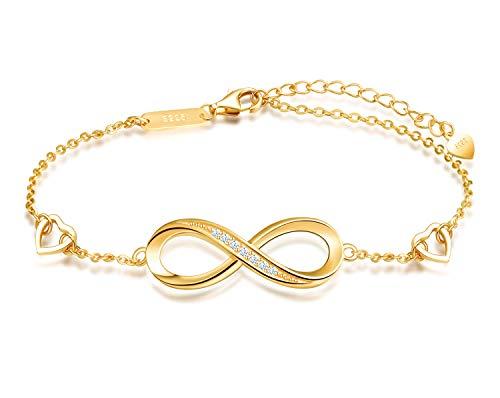 MicVivien Damen Armband Unendlichkeit Symbol Infinity 925 Sterling Silber Zirkonia Armkette Verstellbar Charm Armband