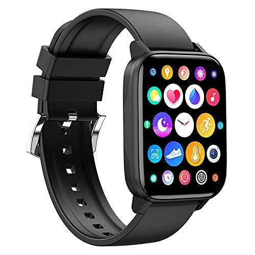 FMSBSC Smartwatch Reloj Inteligente para Teléfonos Android iOS con Frecuencia Cardíaca Presión Arterial Monitor De Rastreador De Sueño, Reloj Deportivo para Hombres, Mujeres,Negro