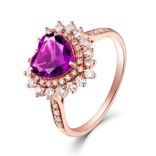 AueDsa Anillos Púrpura Anillos de Mujer Oro Rosa 18K Corazón Amatista Púrpura Blanca 1.13ct Anillo Talla 8
