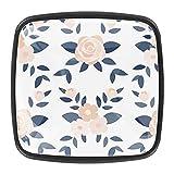 Ink Floral Pattern-01 - Pomos de cocina para gabinetes de cocina (4 piezas)