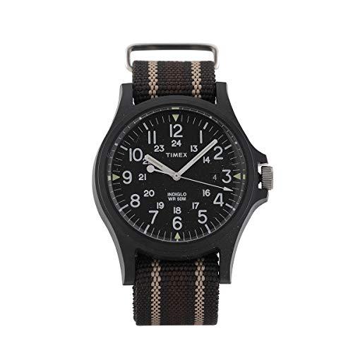 Timex Quarzuhr ACADIA Zifferblatt aus Kunstharz 40 mm Gehäuse Farbe Schwarz - schwarzes Zifferblatt aus Stoff, grau-sand-braun, 20 mm mit Nachtlicht, wasserdicht bis 50 m