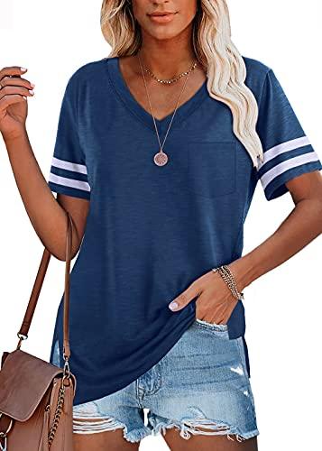 Damen T-Shirt Sommer Oberteile Kurzarm V-Ausschnitt Basic Tee Shirts Top Bluse(X-blau)