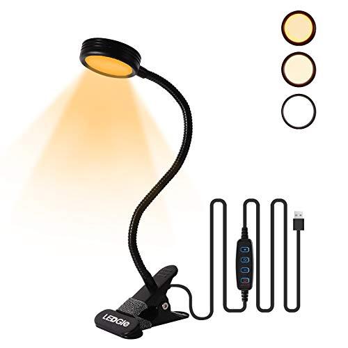 LEDGLE 6W LED Leselampe Buch Klemmleuchte, 22LED Buchlampe Bett Dimmbare Schreibtischlampen Klemme mit 3 Stufen Farbtemperatur und Stufenlose, 360° Flexibel Schwanenhals, Schwarz