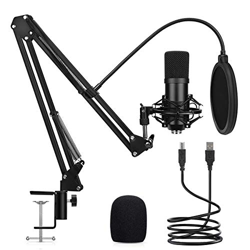 USB Podcast Condenser Microphone Woqed Microphone Kit for Computer Gaming Studio Recording Microphone Streaming Microphone for PC,Computer, Laptop, Podcast,YouTube Video, Recording Music, Voice Over